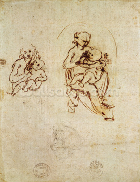 Study for the Virgin and Child, c.1478-1480 (ink and pencil on paper) wall mural