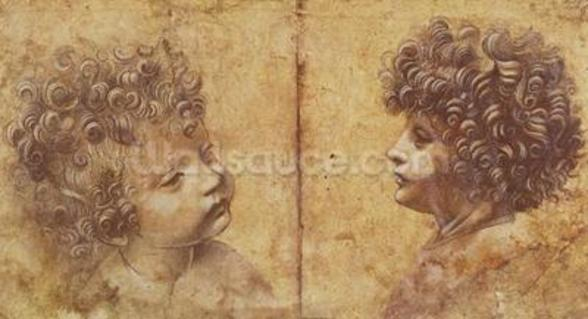 Study of a childs head (red chalk heightened with white on paper) wall mural
