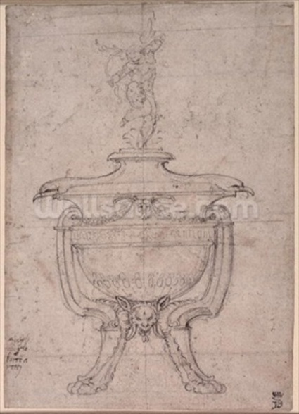 Study of a decorative urn (pen and ink on paper) wall mural