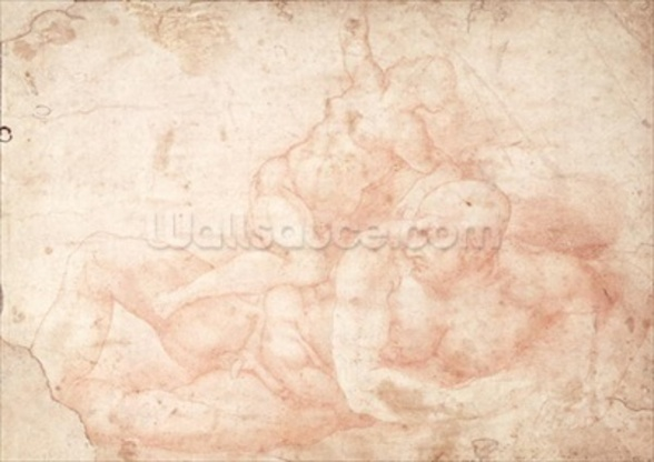Study of a Male and Female Nude (red chalk on paper) mural wallpaper