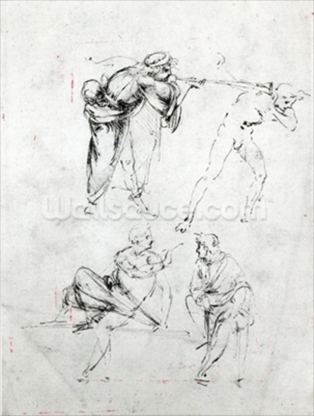 Study of a man blowing a trumpet in anothers ear, and two figures in conversation, c.1480-82 (pen and ink on paper) wall mural