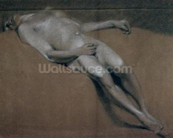 Study of a recumbent male nude (chalk on paper) wallpaper mural