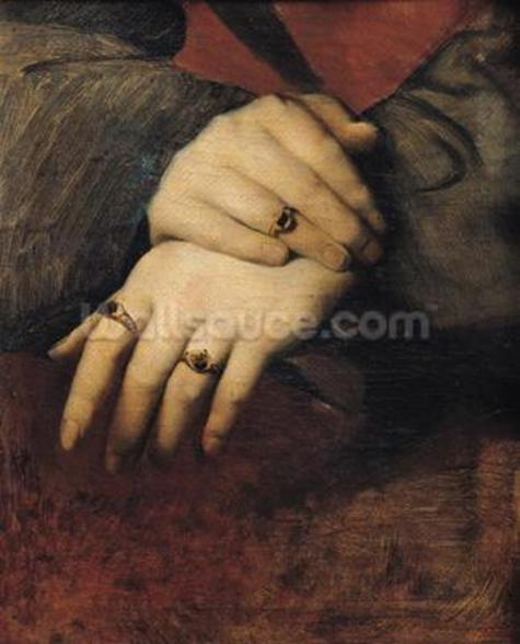 Study of a Womans Hands, after the portrait of Maddalena Doni by Raphael (oil on canvas) wall mural
