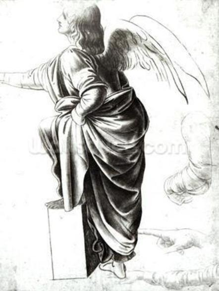 Study of an Angel (chalk on paper) (b/w photo) wallpaper mural