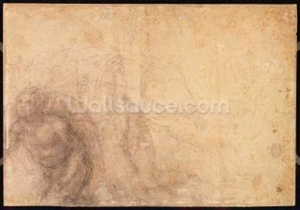 Study of an angel (charcoal on paper) (verso) wallpaper mural