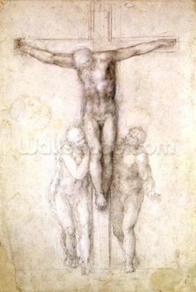 Study of Christ on the Cross between the Virgin and St. John the Evangelist (black chalk on paper) (recto) wall mural