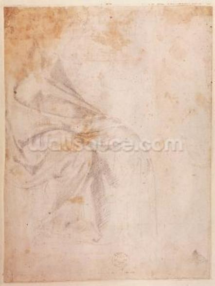Study of Drapery (black chalk on paper) c.1516 (verso) (for recto see 191775) wall mural