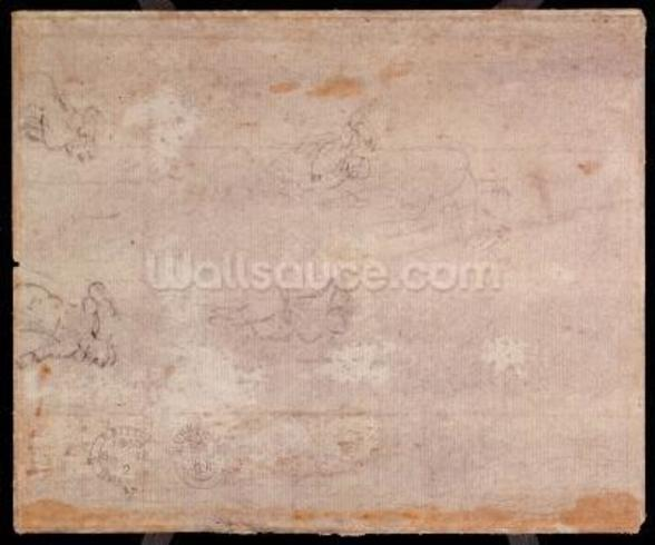 Study of Figures (black chalk on paper) (recto) (for verso see 191778) wall mural