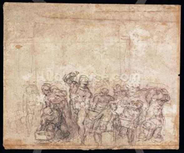 Study of Figures for a Narrative Scene (black chalk on paper) (verso) (for recto see 191777) (see also 191767) wallpaper mural