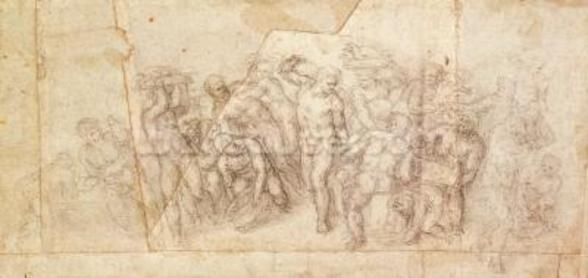 Study of figures for a narrative scene (charcoal on paper) (recto) wall mural