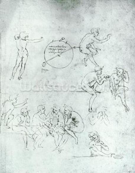 Study of figures for The Adoration of the Magi (pen and ink on paper) mural wallpaper