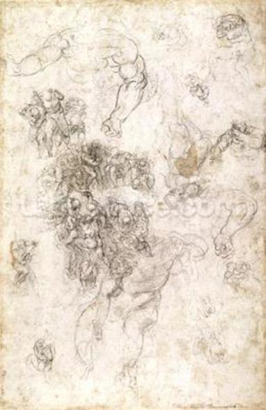 Study of figures for The Last Judgement with artists signature, 1536-41 (charcoal on paper) (recto) wall mural