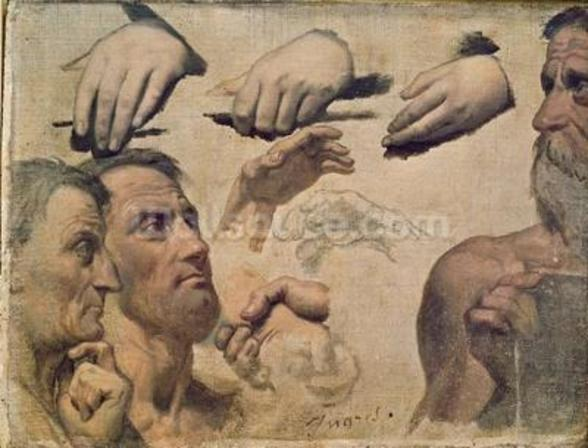 Study of Heads and Hands for the Apotheosis of Homer (oil on canvas) wall mural
