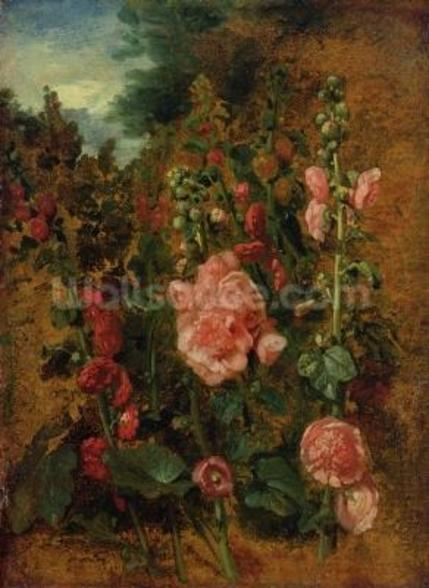 Study of Hollyhocks, c.1826 (oil on board) wallpaper mural