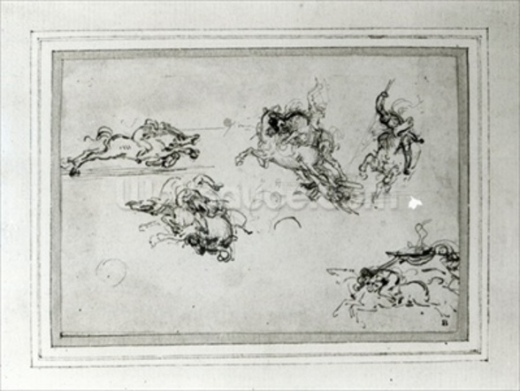 Study of Horsemen in Combat, 1503-4 (pen and ink on paper) wall mural