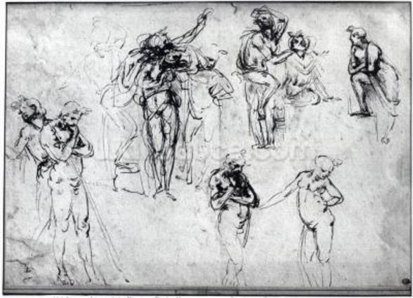 Study of nude men (pen and ink on paper) wall mural