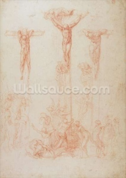 Study of Three Crosses (red chalk on paper) wall mural