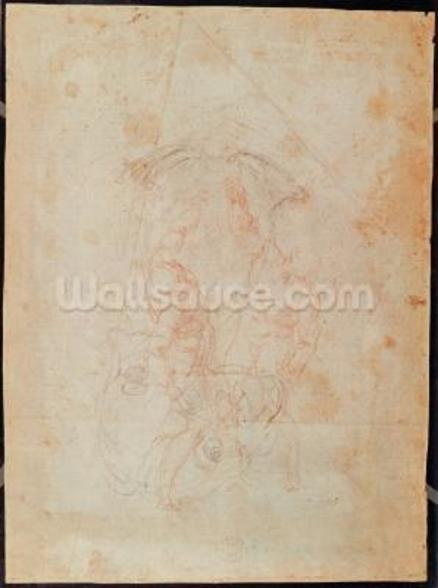 Study of two male figures (red chalk on paper) (verso) wall mural