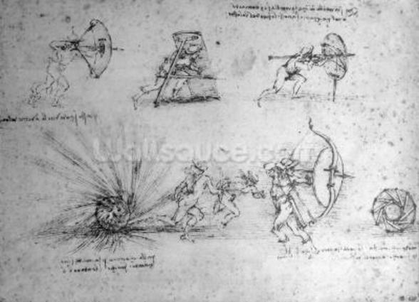 Study with Shields for Foot Soldiers and an Exploding Bomb, c.1485-88 (pen and ink on paper) wallpaper mural