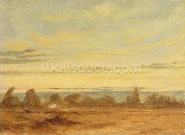 Summer - Evening Landscape (oil on canvas) wall mural