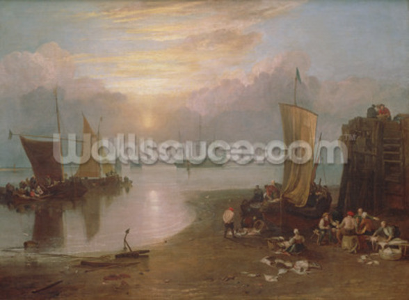Sun Rising Through Vapour: Fishermen Cleaning and Selling Fish, c.1807 (oil on canvas) wallpaper mural