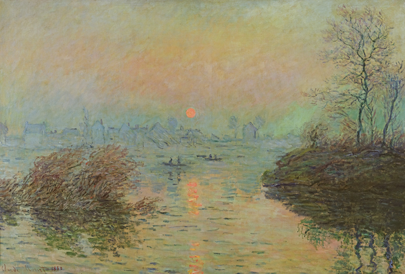 Sun Setting over the Seine at Lavacourt. Winter Effect, 1880 (oil on canvas) mural wallpaper