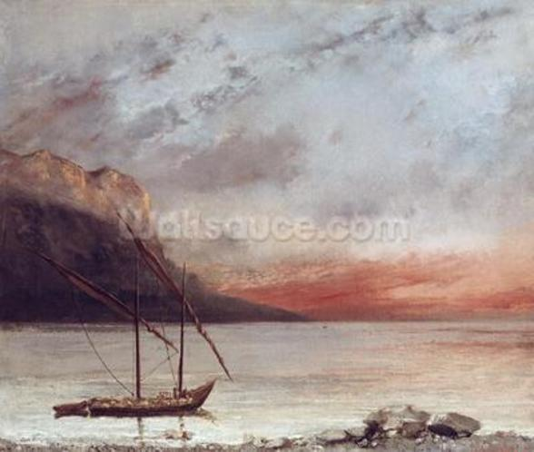Sunset over Lake Leman, 1874 (oil on canvas) wall mural