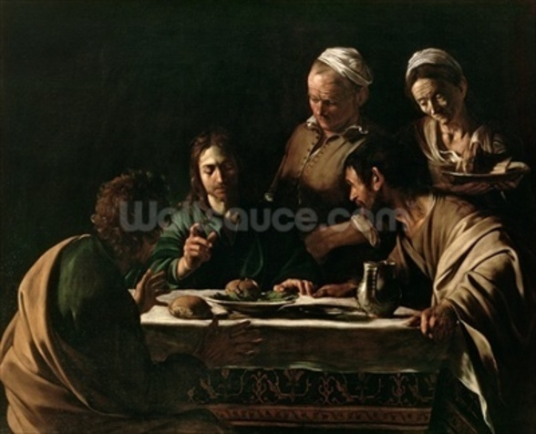 Supper at Emmaus, 1606 (oil on canvas) (see also 169588) wallpaper mural