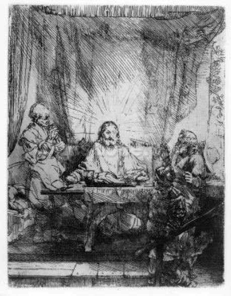 Supper at Emmaus, 1654 (etching) wall mural