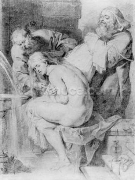 Susanna and the Elders, drawn by Lucas Vorsterman, c.1620 (chalk, pen & ink on paper) wallpaper mural