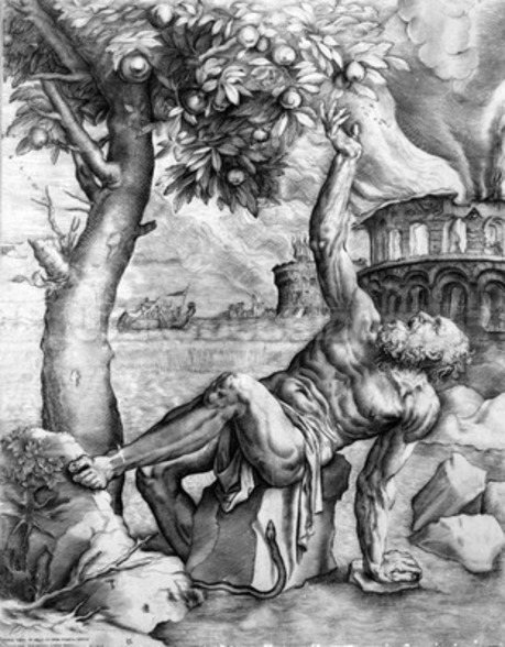 Tantalus, engraved by Giulio Sanuto, c.1550s (engraving) wall mural