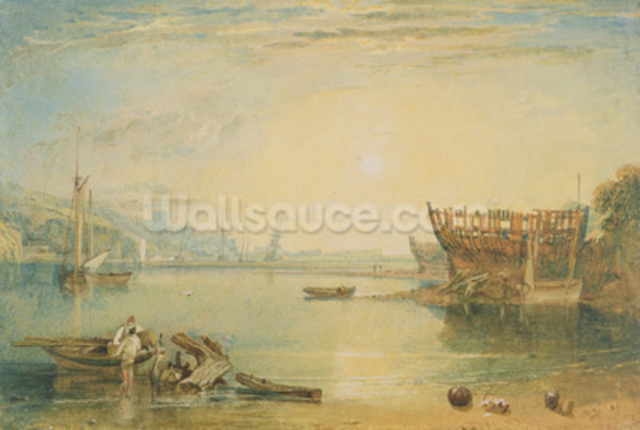 Teignmouth, Devonshire, c.1813 (w/c on paper) mural wallpaper