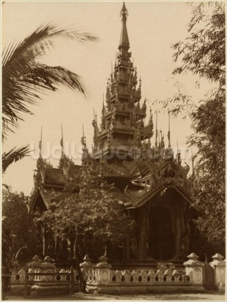 Temple in Mandalay, Burma, late 19th century (albumen print) (b/w photo) mural wallpaper