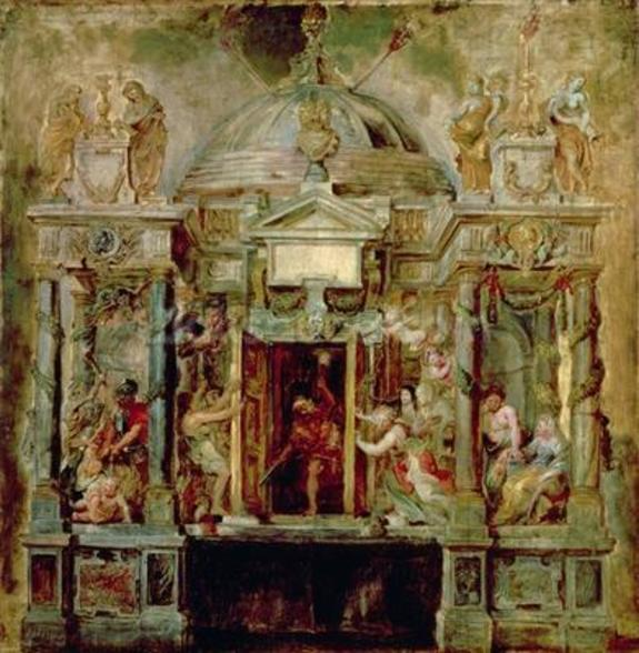 Temple of Janus, 1630s (oil on canvas) wall mural