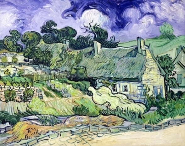 Thatched cottages at Cordeville, Auvers-sur-Oise, 1890 (oil on canvas) wall mural