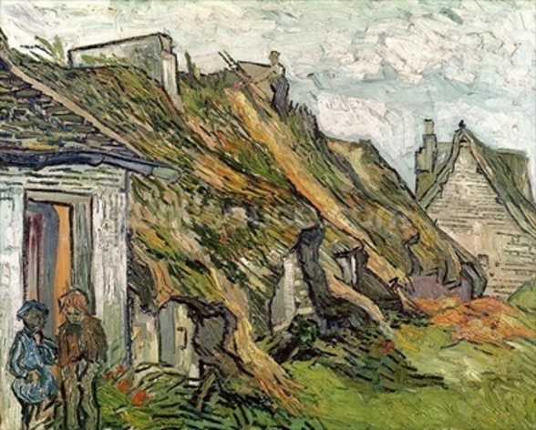 Thatched Cottages in Chaponval, Auvers-sur-Oise, 1890 (oil on canvas) wallpaper mural