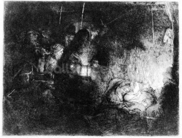 The Adoration of the Shepherds, c.1652 (etching) wallpaper mural