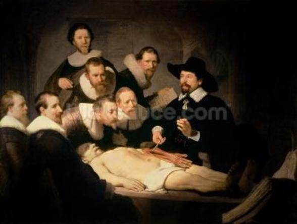The Anatomy Lesson of Dr. Nicolaes Tulp, 1632 (oil on canvas) mural wallpaper