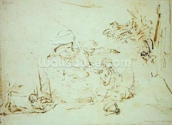 The Angel Appears to Hagar and Ishmael in the Wilderness (pen and brown ink with bodycolour on paper) mural wallpaper