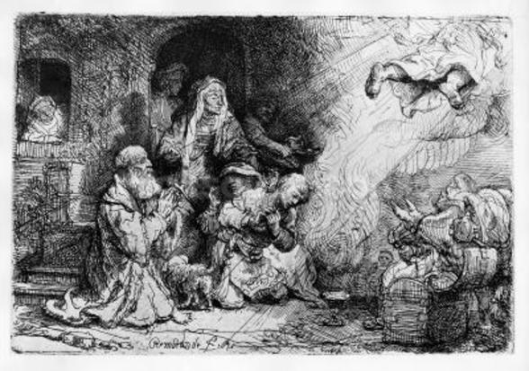 The Angel departing the family of Tobias, 1641 (etching) wall mural