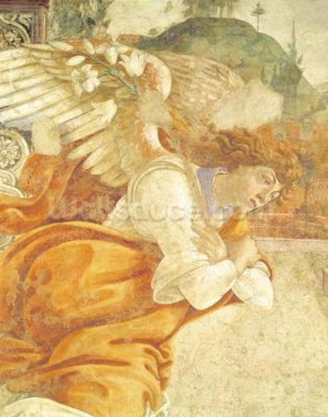 The Annunciation, detail of the Archangel Gabriel, from San Martino della Scala, 1481 (fresco mounted on panel) wall mural