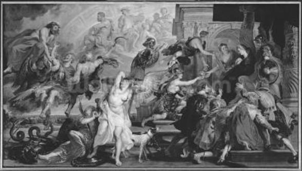 The Apotheosis of Henri IV and the Proclamation of the Regency of Marie de Medici, 1622-25 (oil on canvas) (b/w photo) wall mural
