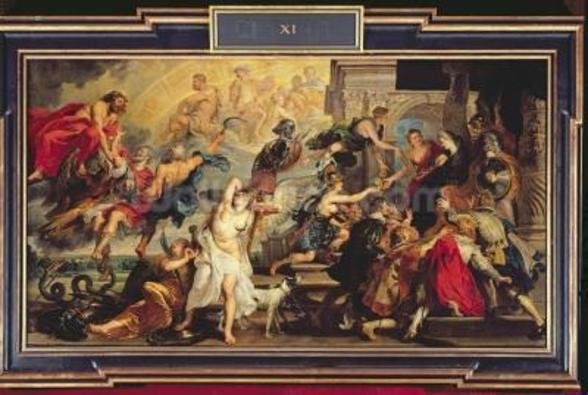 The Apotheosis of Henri IV and the Proclamation of the Regency of Marie de Medici, 1622-25 (oil on canvas) wall mural