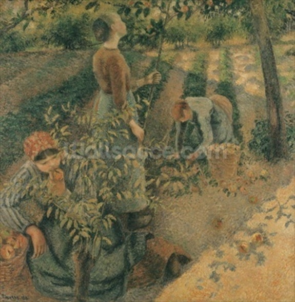 The Apple Pickers, 1886 (oil on canvas) wallpaper mural