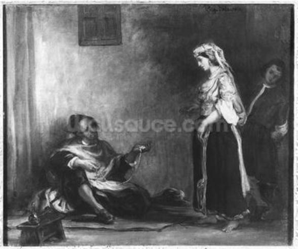 The Arab Merchant (oil on canvas) (b/w photo) wall mural