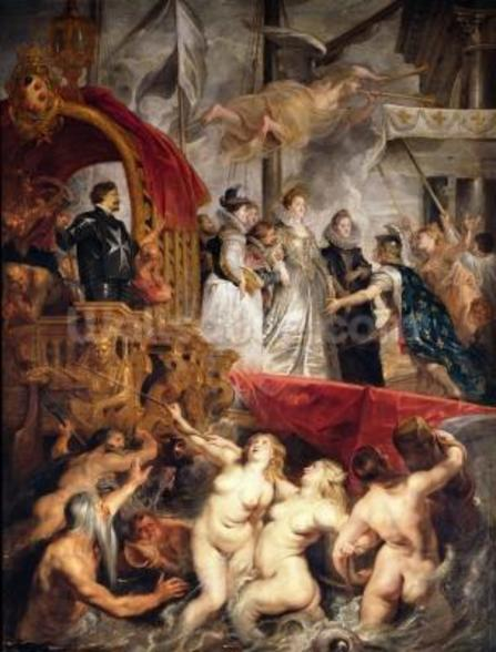 The Arrival of Marie de Medici in Marseilles, 3rd November 1600, 1621-25 (oil on canvas) wallpaper mural