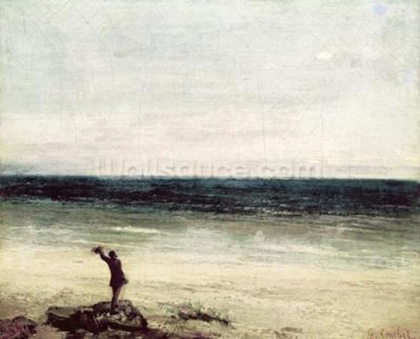 The Artist on the Seashore at Palavas (oil on canvas) mural wallpaper