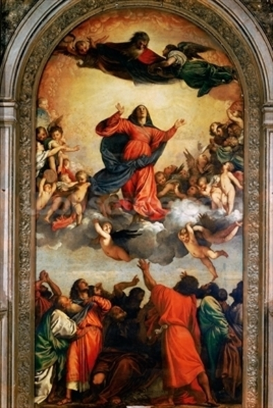 The Assumption of the Virgin, 1516-18 (oil on canvas) wall mural