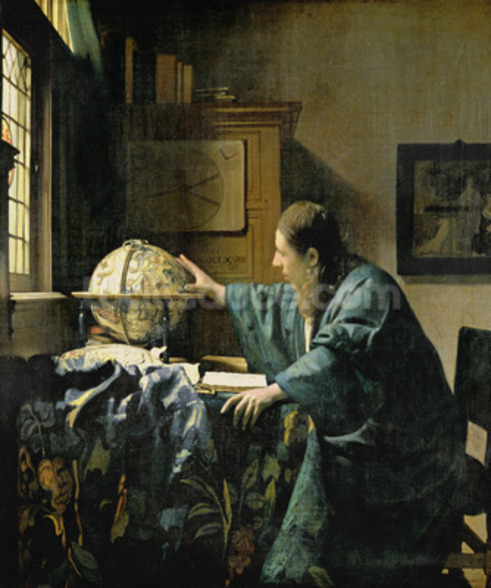 The Astronomer, 1668 (oil on canvas) wallpaper mural