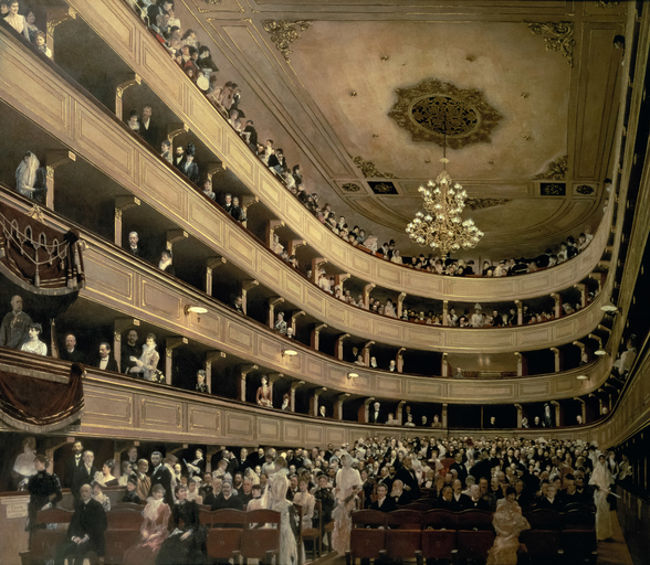 The Auditorium of the Old Castle Theatre, 1888 (oil on canvas) wallpaper mural
